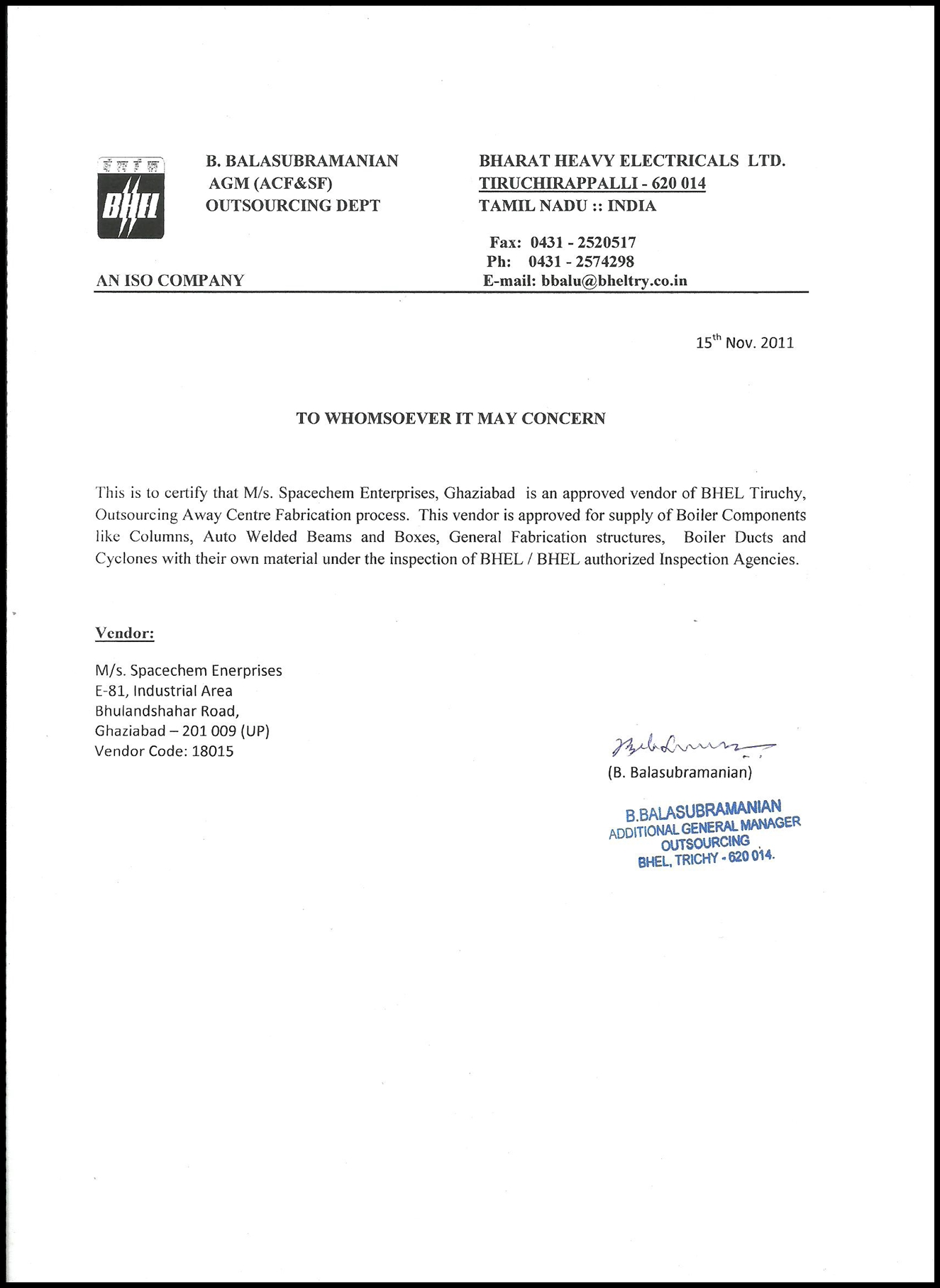 Approved Vendor of BHEL for Supply of Boiler components
